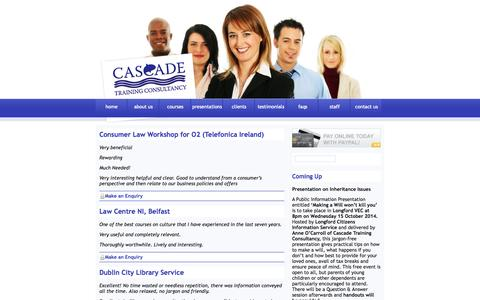 Screenshot of Testimonials Page cascadetrainingconsultancy.com - Cascade Training Consultancy Ireland - Educational Courses on Communication,Law, Management - captured Sept. 29, 2014