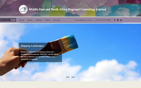Screenshot of Home Page menarc.co.uk - MENA CONSULTING | Middle East and North Africa Regional Consulting Ltd - captured Oct. 1, 2018