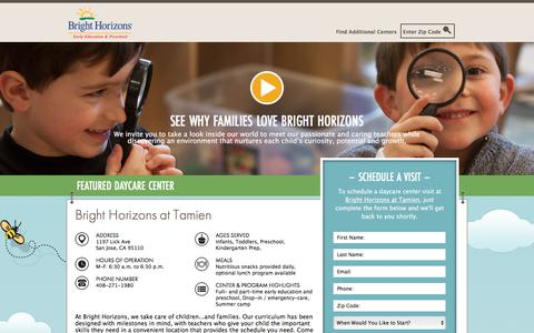 Screenshot of Landing Page brighthorizons.com - Bright Horizons® | Child Care, Back-Up Care, Early Education, and Work/Life Solutions - captured April 8, 2018