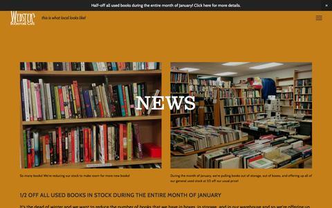 Screenshot of Press Page webstersbooksandcafe.com - News — Webster's Bookstore Cafe - captured Feb. 2, 2018