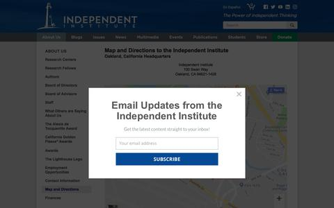 Screenshot of Maps & Directions Page independent.org - Map to the Independent Institute: About Us: The Independent Institute - captured Sept. 23, 2018
