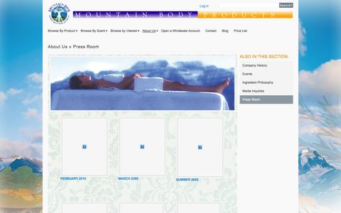 Screenshot of Press Page mountainbodyproducts.com - Press Room - captured Oct. 26, 2014
