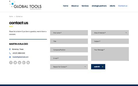 Screenshot of Contact Page global-tools.com - Contact us » Global Tools - captured July 20, 2018