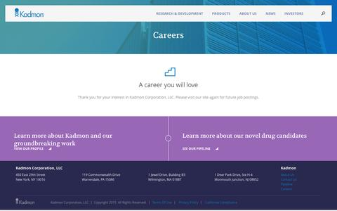 Screenshot of Jobs Page kadmon.com - Careers | Kadmon Corporation, LLC - captured Dec. 3, 2015