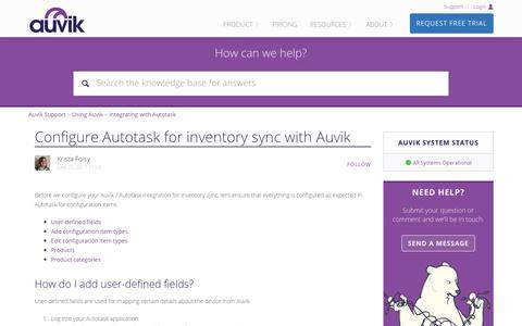 Screenshot of Support Page auvik.com - Configure Autotask for inventory sync with Auvik – Auvik Support - captured Nov. 17, 2017