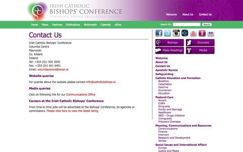 Screenshot of Contact Page catholicbishops.ie - Contact Us | Irish Catholic Bishops' Conference - captured Oct. 6, 2014