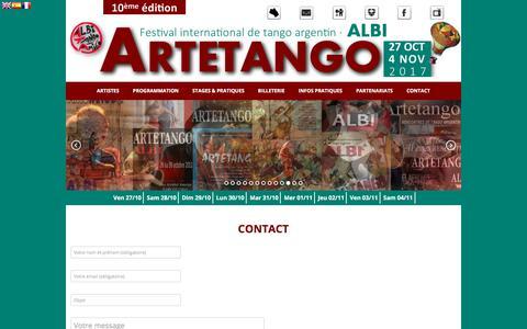 Screenshot of Contact Page artetango-festival.com - contact - 10ème Festival International de Tango Argentin - captured Dec. 2, 2017