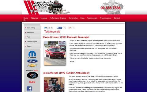Screenshot of Testimonials Page waer.co.nz - Client's testimonials - West Auckland Engine Reconditioners - captured Oct. 26, 2014
