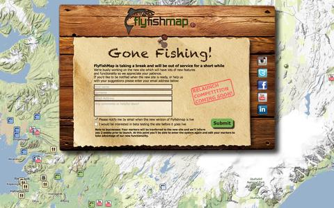 Screenshot of Home Page flyfishmap.com - Discover the World of Fly Fishing Online with Flyfishmap.com! - captured Oct. 6, 2014