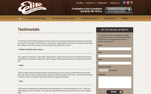 Screenshot of Testimonials Page elitefurnitureservice.com - Testimonials - Elite Furniture Service - captured Nov. 4, 2018