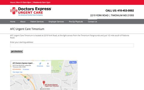 Screenshot of Maps & Directions Page doctorsexpresstimonium.com - Directions to Urgent Care in Timonium & Lutherville MD   AFC Urgent Care Timonium - captured Aug. 2, 2016
