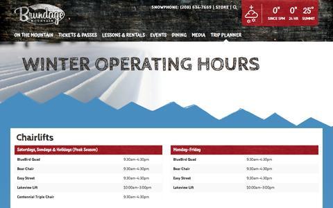 Screenshot of Hours Page brundage.com - Hours of Operation - Brundage Mountain Resort - captured Nov. 23, 2016