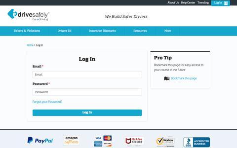 Screenshot of Login Page idrivesafely.com - I Drive Safely - Existing Student Login Page - Student Sign In - captured July 9, 2018