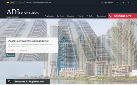 Screenshot of Home Page adibienesraices.com - Panama Real Estate - Bienes Raíces en Panamá - captured Oct. 4, 2014