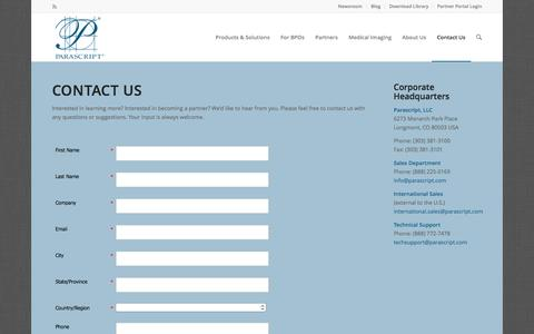 Screenshot of Contact Page parascript.com - Contact Us | Recognition Technology Information | Parascript - captured March 12, 2017