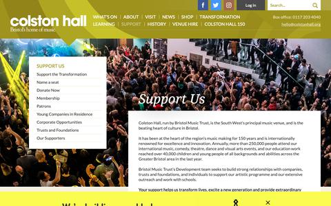 Screenshot of Support Page colstonhall.org - Support Us / Colston Hall - captured Oct. 21, 2018