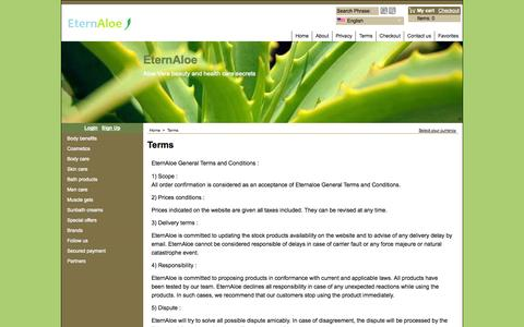 Screenshot of Terms Page eternaloe.com - Terms - captured Sept. 30, 2014