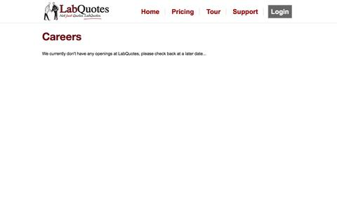 Screenshot of Jobs Page labquotes.com - Careers - LabQuotes - captured Sept. 27, 2014
