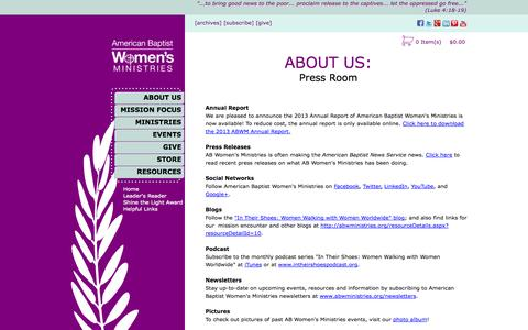 Screenshot of Press Page abwministries.org - Press Room - ABWMinistries - captured Nov. 2, 2014