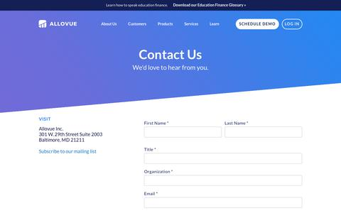 Screenshot of Contact Page allovue.com - Contact Us / Allovue - captured July 13, 2018