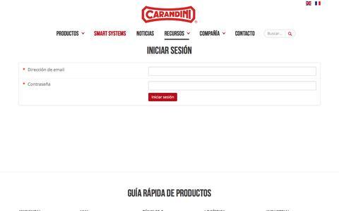 Screenshot of Login Page carandini.com - Acceso privado | Carandini - captured Sept. 25, 2018