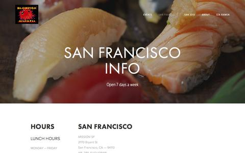 Screenshot of Locations Page blowfishsushi.com - SAN FRANCISCO INFO — Blowfish Sushi To Die For - captured Nov. 22, 2016