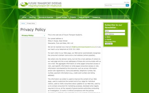 Screenshot of Privacy Page futuretransportsystems.co.uk - Privacy Policy - captured Oct. 6, 2014