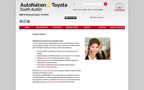 Screenshot of Support Page autonationtoyotasouthaustin.com - Customer Service Department from AutoNation Toyota South Austin - captured Sept. 30, 2014
