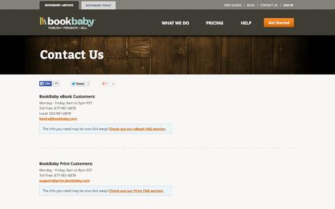 Screenshot of Contact Page bookbaby.com - Contact Us | BookBaby - captured Oct. 10, 2014