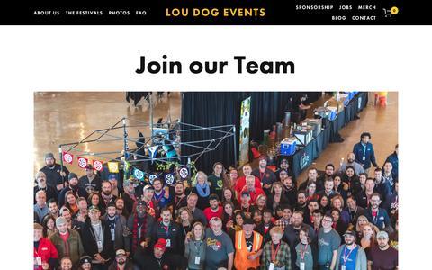 Screenshot of Jobs Page loudogevents.com - Jobs — Lou Dog Events - captured Dec. 8, 2018