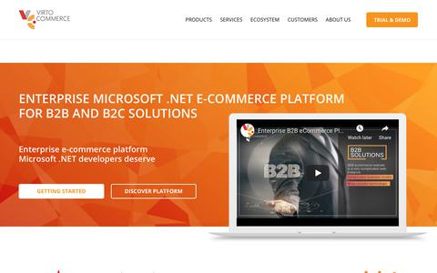 Screenshot of Home Page virtocommerce.com - Enterprise ASP.NET open-source Microsoft e-commerce platform - Virto Commerce - captured Nov. 7, 2018