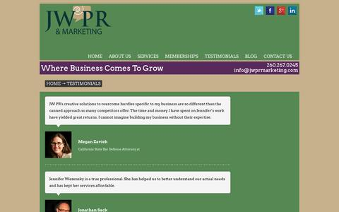 Screenshot of Testimonials Page jwprmarketing.com - Indiana Public Relations and Marketing Firm Specializing in Small Businesses and Start-Ups - captured Oct. 27, 2014