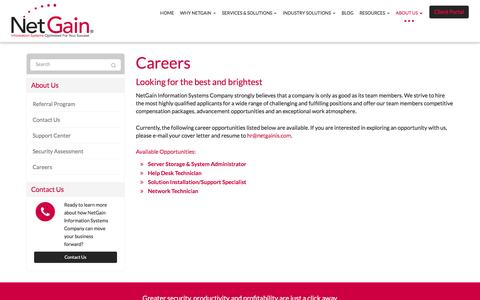 Screenshot of Jobs Page netgainis.com - Careers - Marysville, Bellefontaine, Urbana   NetGain Information Systems - captured Feb. 14, 2016