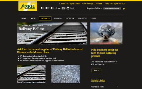 Screenshot of Products Page arkil.ie - Railway Ballast | - captured Feb. 6, 2016