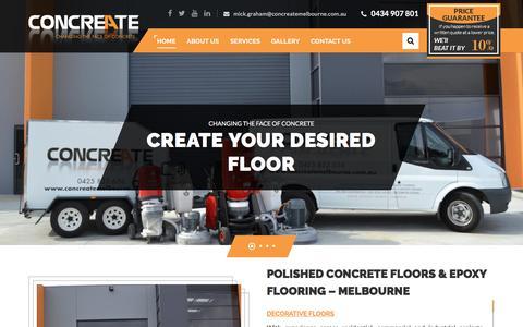 Screenshot of Home Page concreatemelbourne.com.au - PolishedConcreteFloors&ConcretingMelbourne Concreate - captured July 21, 2018