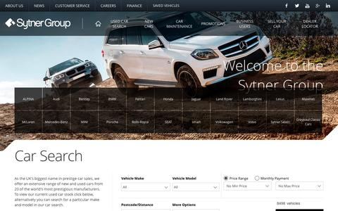 Screenshot of Home Page sytner.co.uk - Car Dealership | Sytner Group - captured Jan. 20, 2016