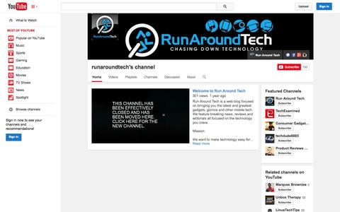 Screenshot of YouTube Page youtube.com - runaroundtech's channel  - YouTube - captured Oct. 26, 2014