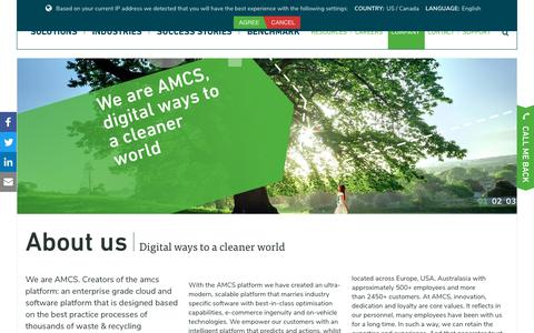 Screenshot of About Page amcsgroup.com - About AMCS: Waste & Recycling Industry Software and Cloud Service - captured March 13, 2019