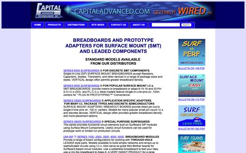 Screenshot of Products Page capitaladvanced.com - Standard products for SMT and Leaded component prototype and breadboard  applications - captured Sept. 26, 2018
