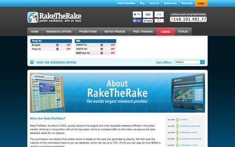 Screenshot of About Page raketherake.com - About RakeTheRake | The Worlds Largest Rakeback Provider - captured Oct. 26, 2014