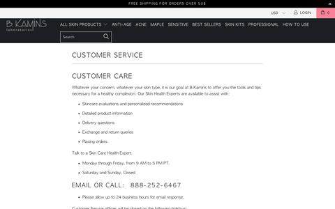Screenshot of Support Page bkamins.com - Customer Service - bkamins - captured July 17, 2018