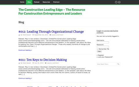 Screenshot of Blog constructionleadingedge.com - Blog - The Construction Leading Edge - The Resource For Construction Entrepreneurs and Leaders - captured Oct. 7, 2014