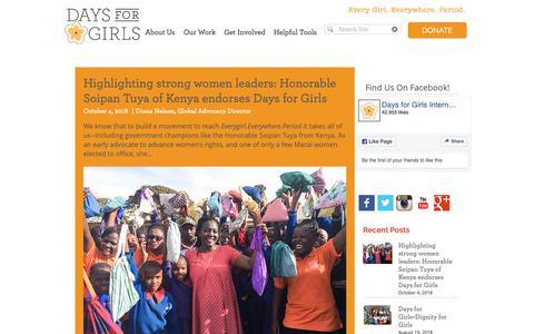 Screenshot of Blog daysforgirls.org - Days for Girls International | Blog - captured Oct. 8, 2018