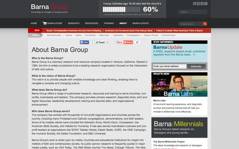 Screenshot of About Page barna.org - About - Barna Group - captured Oct. 5, 2014