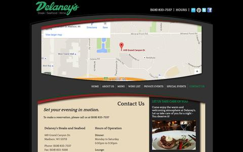 Screenshot of Contact Page Hours Page experiencedelaneys.com - Contact Us | Delaney's | Steak | Seafood | Wine - captured March 17, 2016