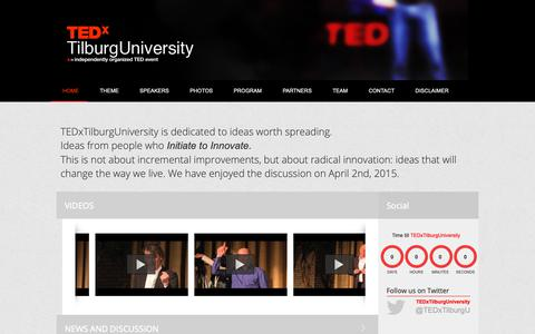 Screenshot of Home Page tedxtilburguniversity.nl - Home - TEDxTilburgUniversity 2015   Initiate to Innovate - captured Nov. 7, 2018
