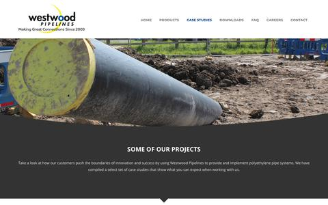 Screenshot of Case Studies Page westpipes.com - Case Studies | Westwood Pipelines - captured Oct. 18, 2018
