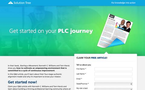 Screenshot of Landing Page solution-tree.com - Get started on your PLC journey - captured Sept. 24, 2016