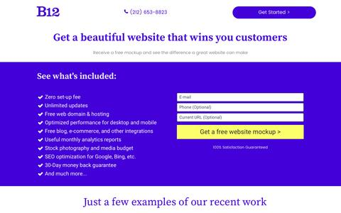 Screenshot of Landing Page leadpages.co - B12 - Building beautiful new websites for your business - captured Sept. 30, 2016