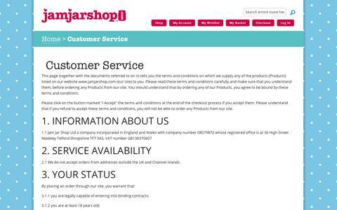 Screenshot of Support Page jamjarshop.com - Customer Service | Jam Jar Shop - captured Feb. 21, 2016
